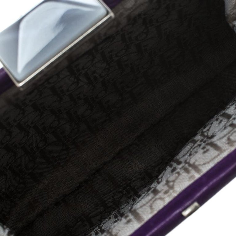 Dior Purple Pleated Leather Frame Clutch For Sale 2