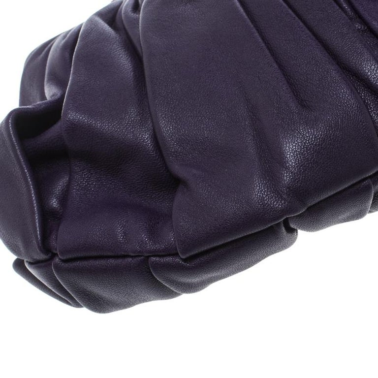 Dior Purple Pleated Leather Frame Clutch For Sale 4