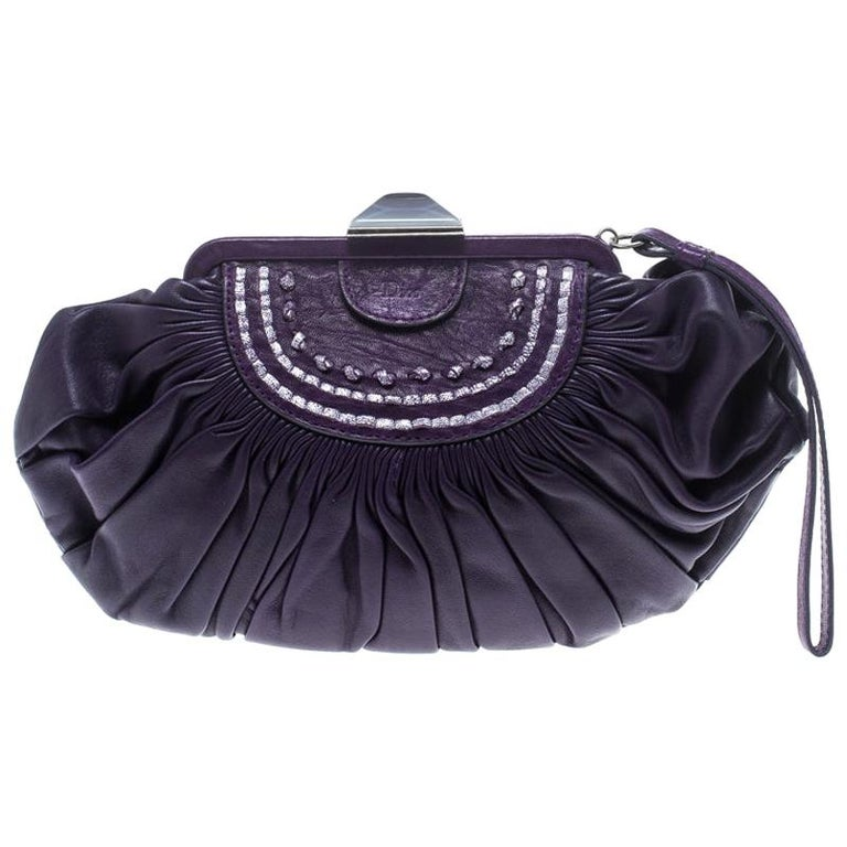 Dior Purple Pleated Leather Frame Clutch For Sale