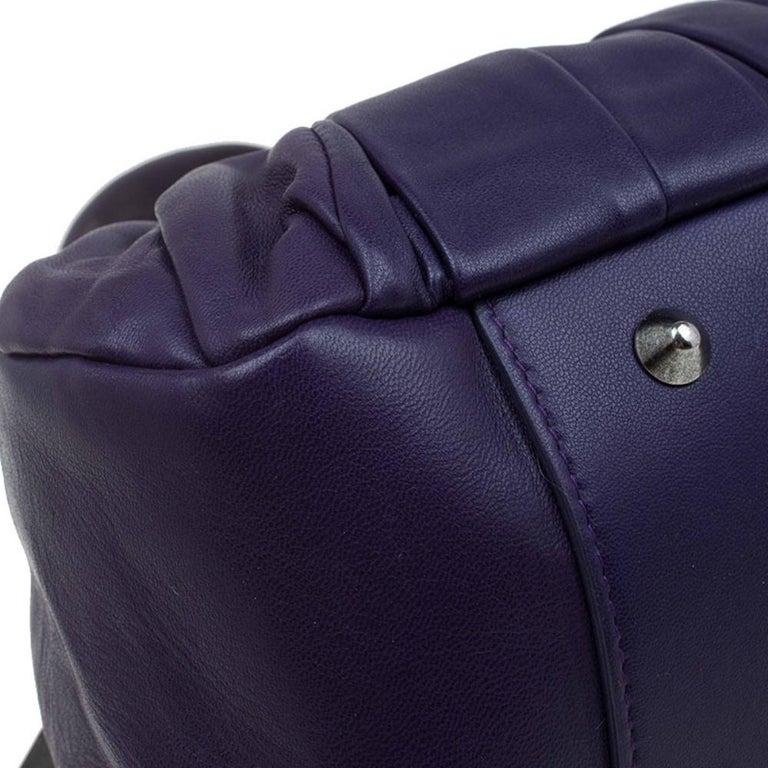 Dior Purple Pleated Leather Plisse Satchel For Sale 6