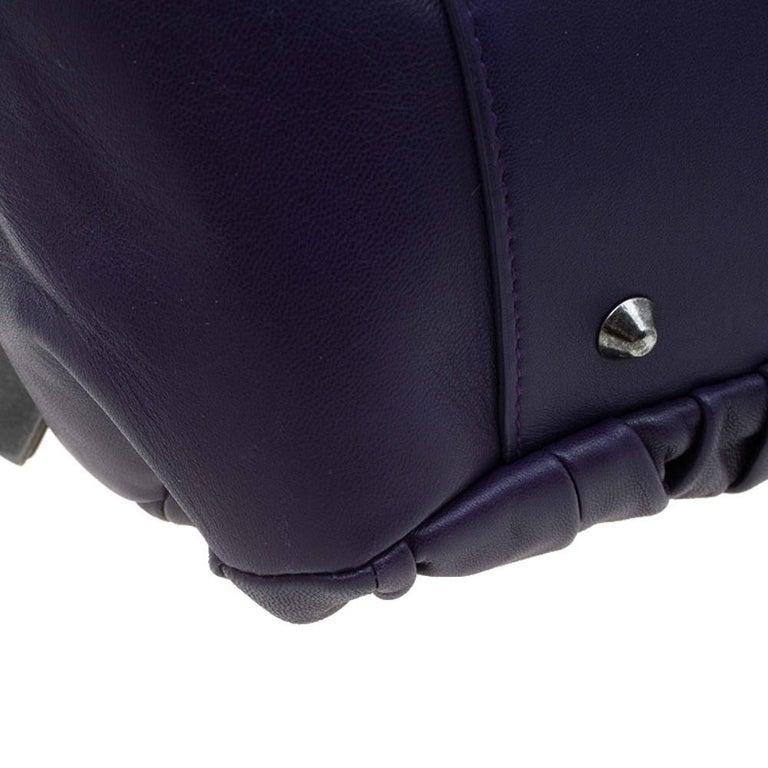 Dior Purple Pleated Leather Plisse Satchel For Sale 7