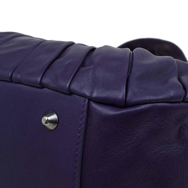Dior Purple Pleated Leather Plisse Satchel For Sale 8