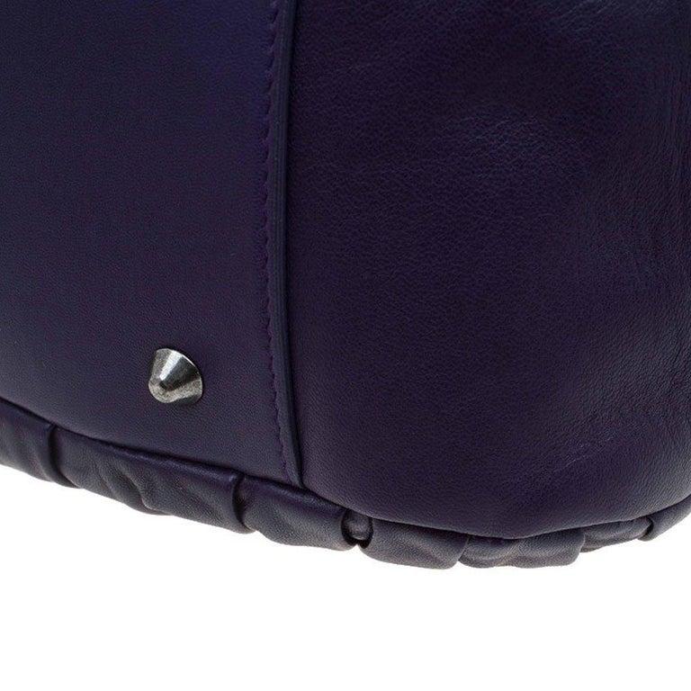 Dior Purple Pleated Leather Plisse Satchel For Sale 9