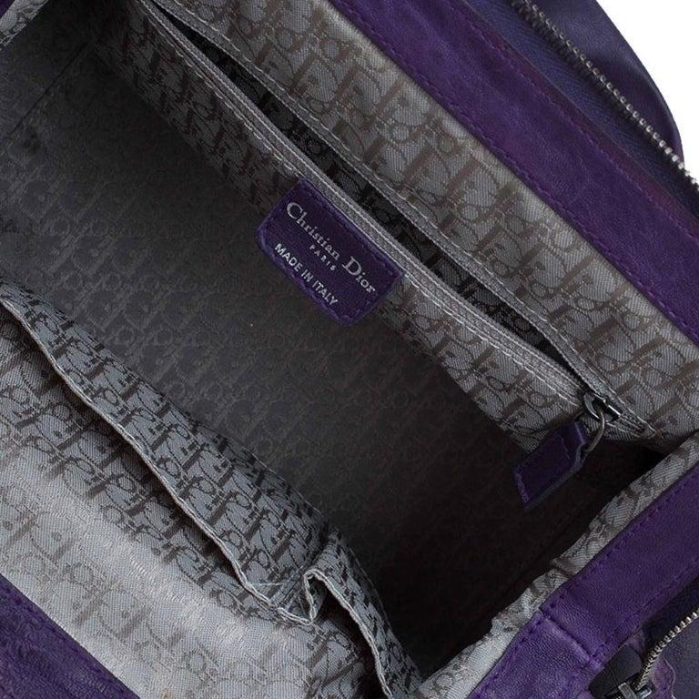 Dior Purple Pleated Leather Plisse Satchel For Sale 10