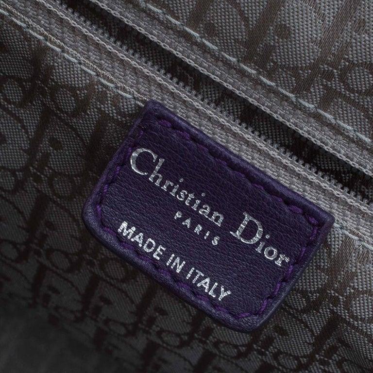 Dior Purple Pleated Leather Plisse Satchel For Sale 12