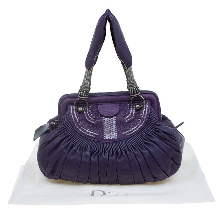 Dior Purple Pleated Leather Plisse Satchel For Sale 13