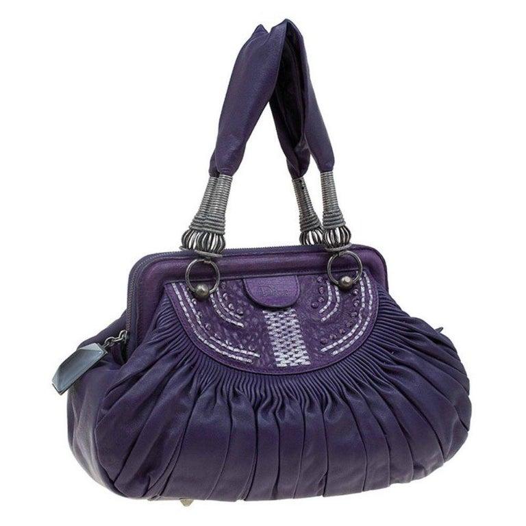Dior Purple Pleated Leather Plisse Satchel In Good Condition For Sale In Dubai, Al Qouz 2