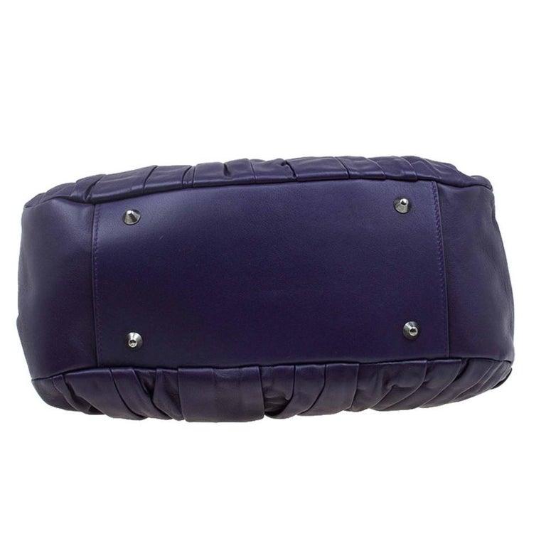 Women's Dior Purple Pleated Leather Plisse Satchel For Sale