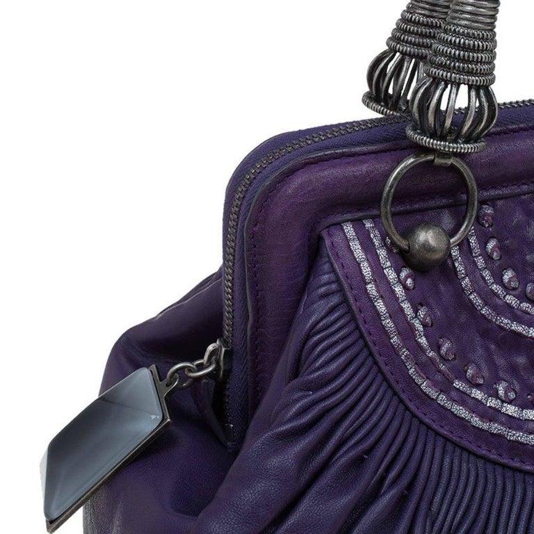 Dior Purple Pleated Leather Plisse Satchel For Sale 1