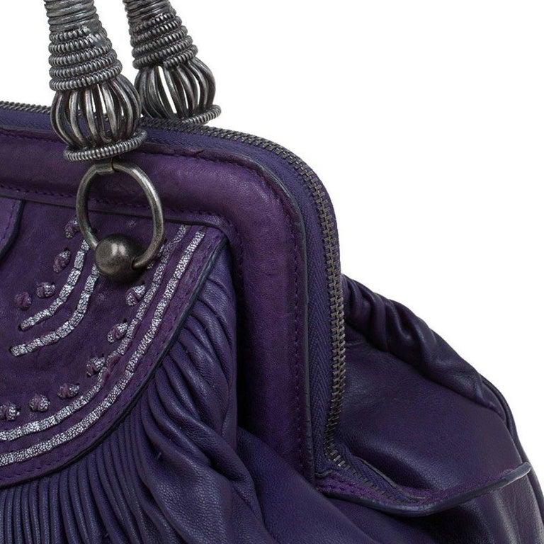 Dior Purple Pleated Leather Plisse Satchel For Sale 2