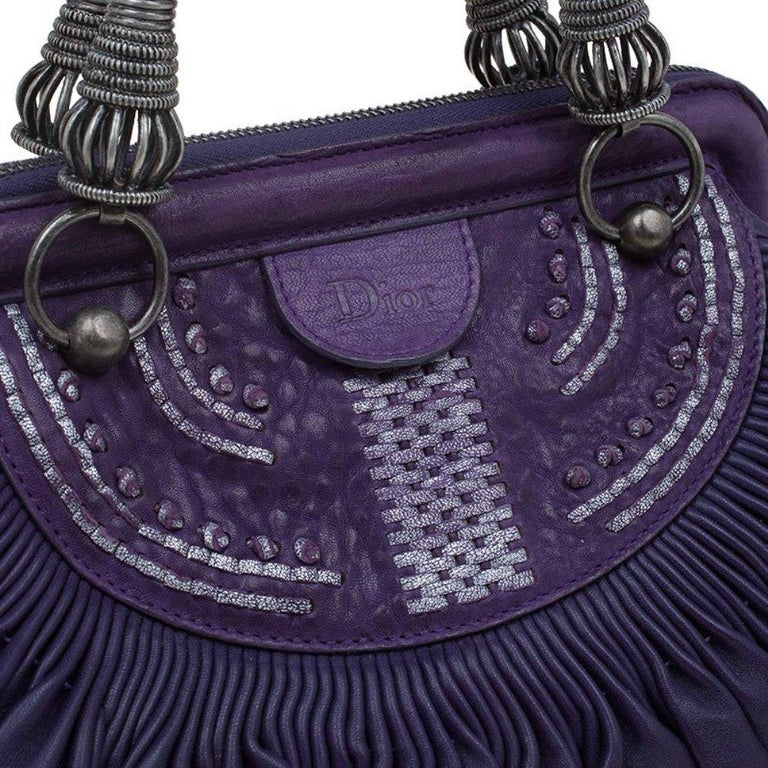 Dior Purple Pleated Leather Plisse Satchel For Sale 3