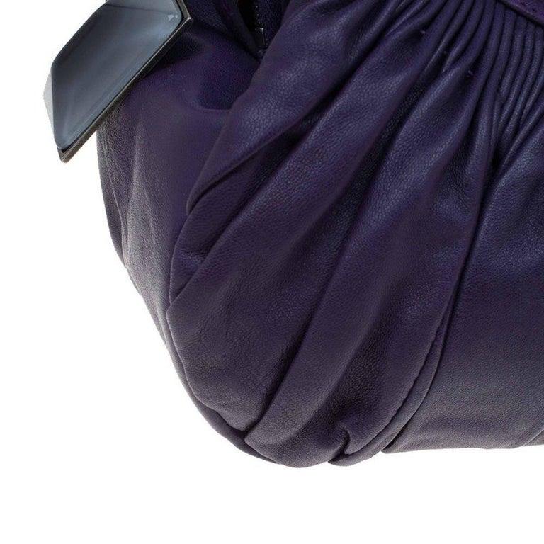 Dior Purple Pleated Leather Plisse Satchel For Sale 4