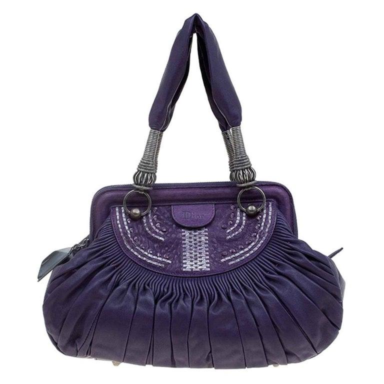 Dior Purple Pleated Leather Plisse Satchel For Sale