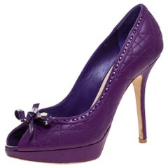 Dior Purple Quilted Cannage Leather Sweet Peep Toe Platform Pumps Size 37.5