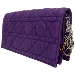 Dior Purple Quilted Clutch with Chain