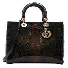 Dior python leather black bag