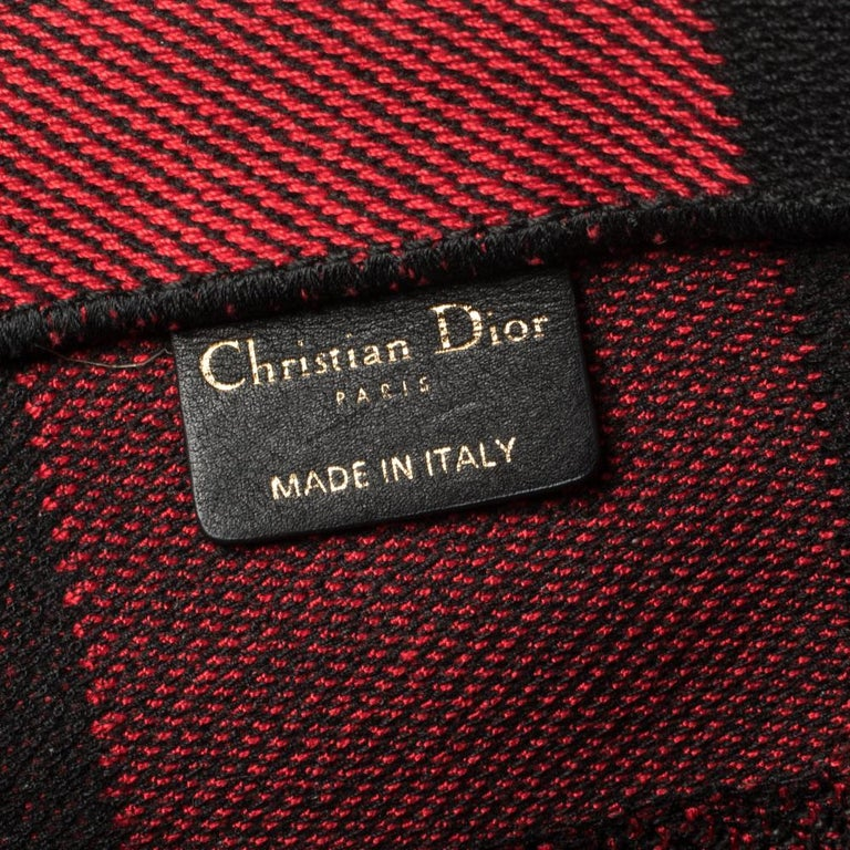 Dior Red/Black Plaid Canvas Book Tote For Sale 6