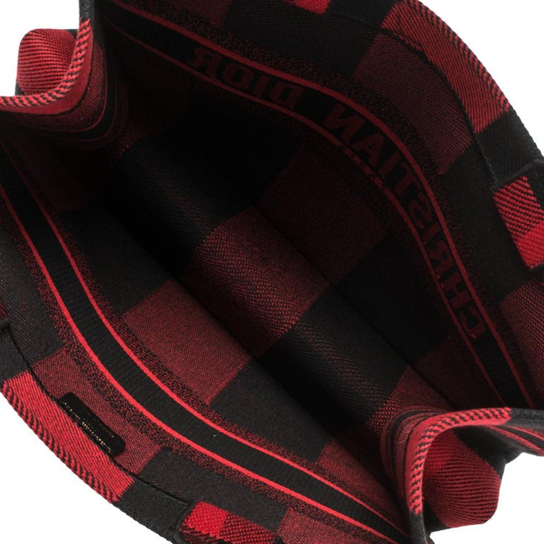 Dior Red/Black Plaid Canvas Book Tote For Sale 7