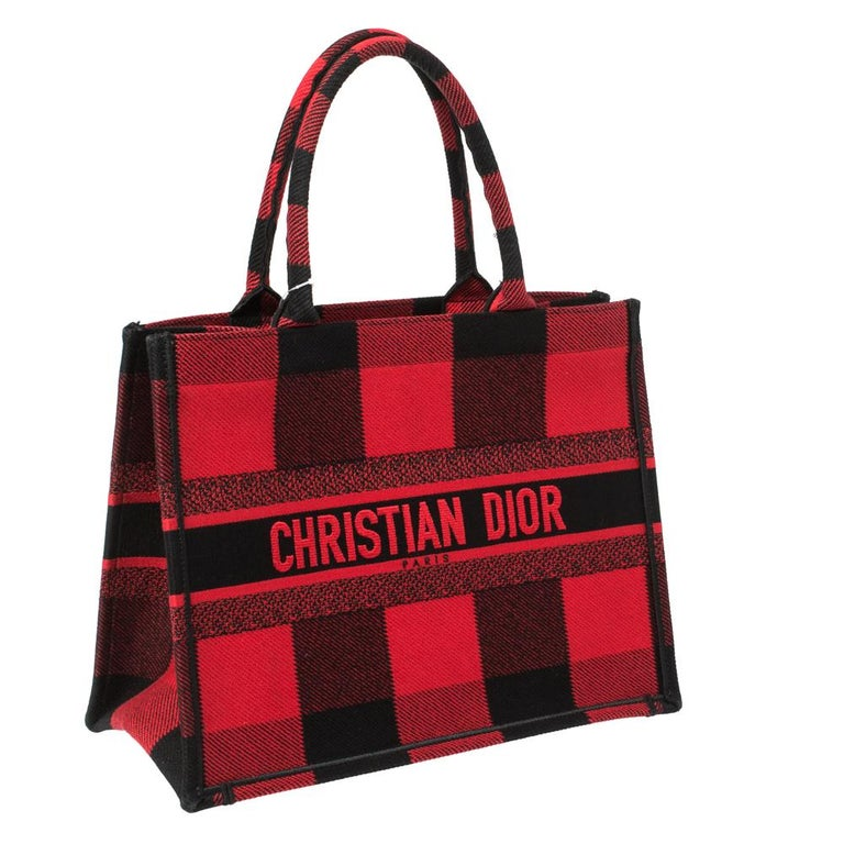 Women's Dior Red/Black Plaid Canvas Book Tote For Sale