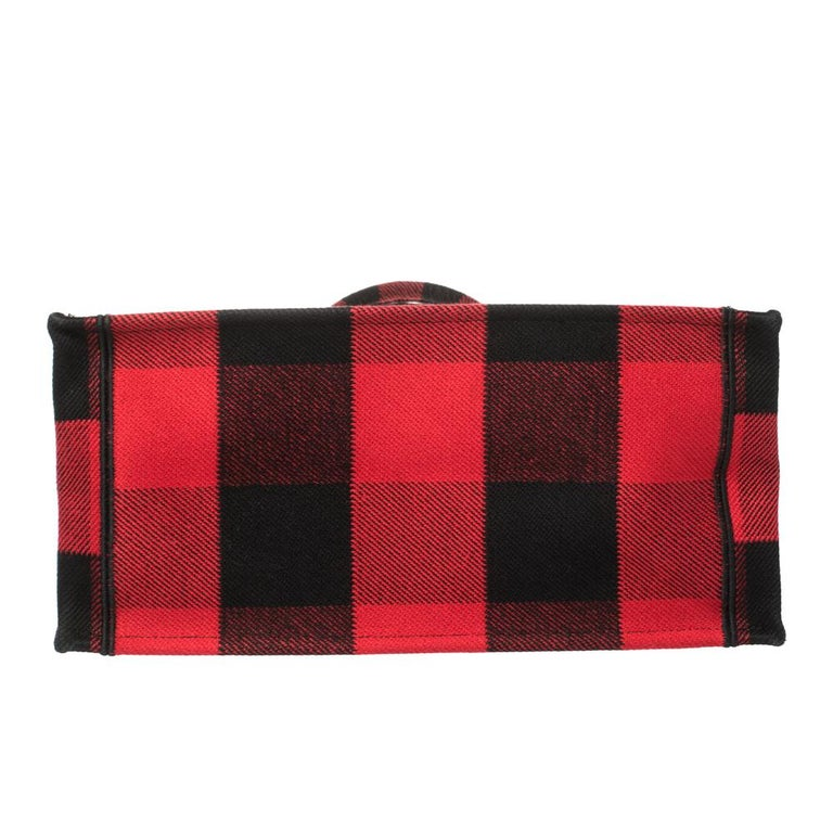 Dior Red/Black Plaid Canvas Book Tote For Sale 1
