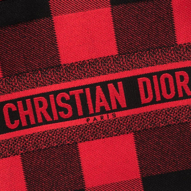 Dior Red/Black Plaid Canvas Book Tote For Sale 2