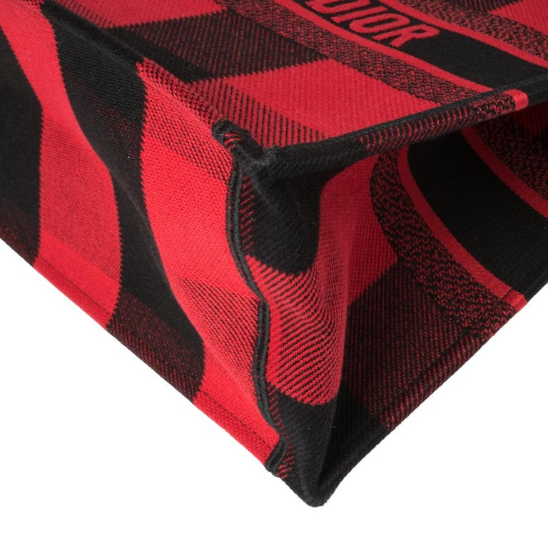 Dior Red/Black Plaid Canvas Book Tote For Sale 3