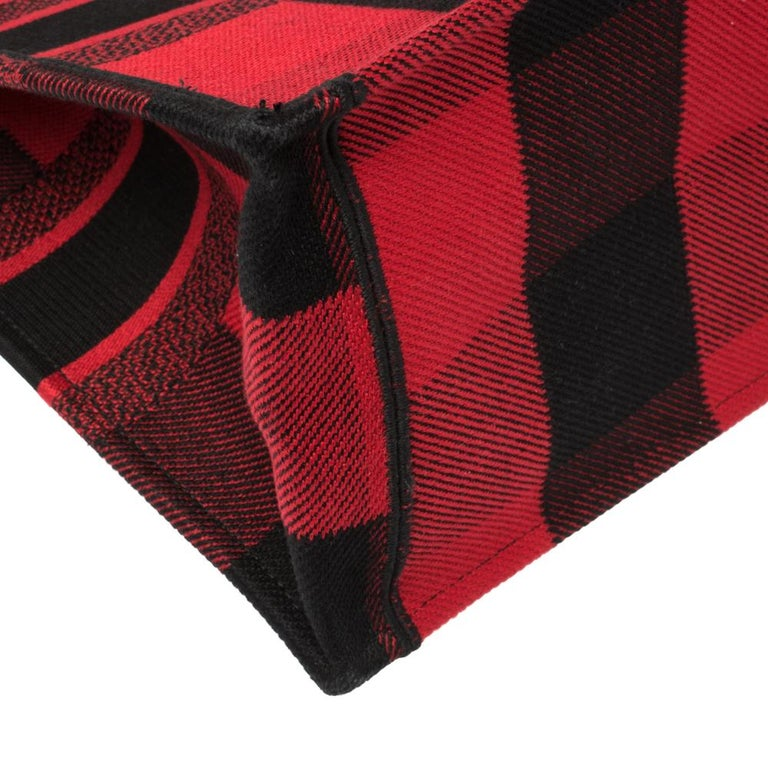 Dior Red/Black Plaid Canvas Book Tote For Sale 4