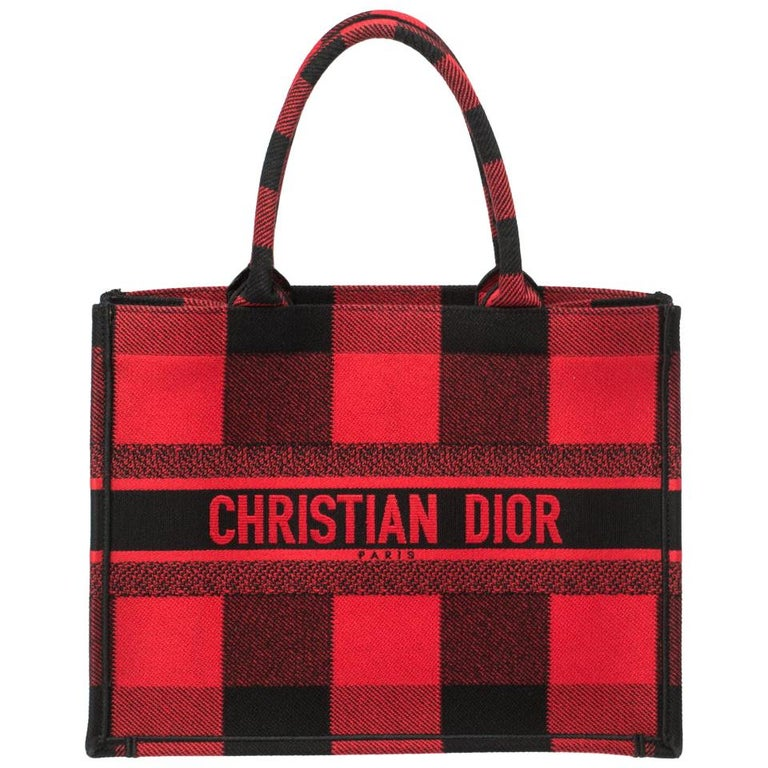 Dior Red/Black Plaid Canvas Book Tote For Sale