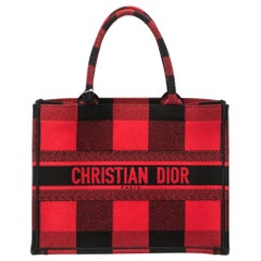 Dior Red/Black Plaid Canvas Book Tote