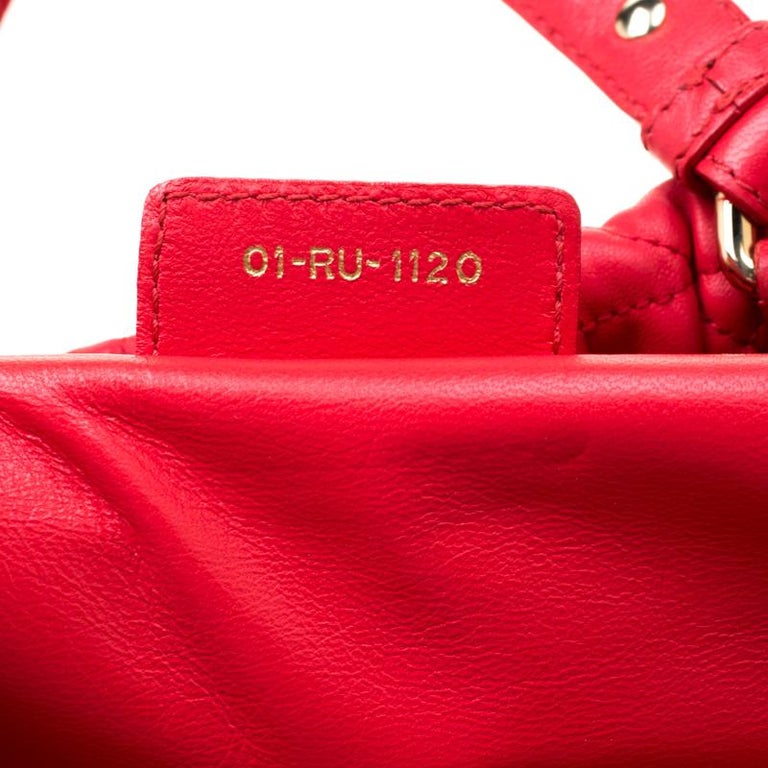 Dior Red Cannage Leather Delices Gaufre Tote For Sale 6