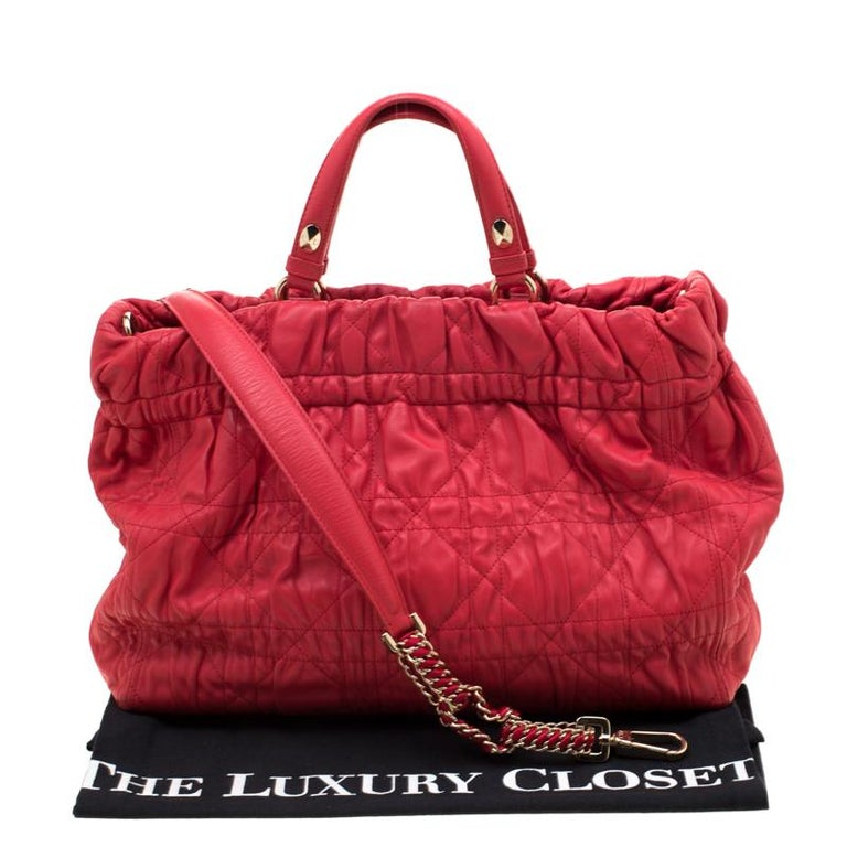 Dior Red Cannage Leather Delices Gaufre Tote For Sale 8