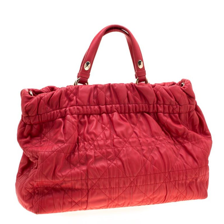 Women's Dior Red Cannage Leather Delices Gaufre Tote For Sale