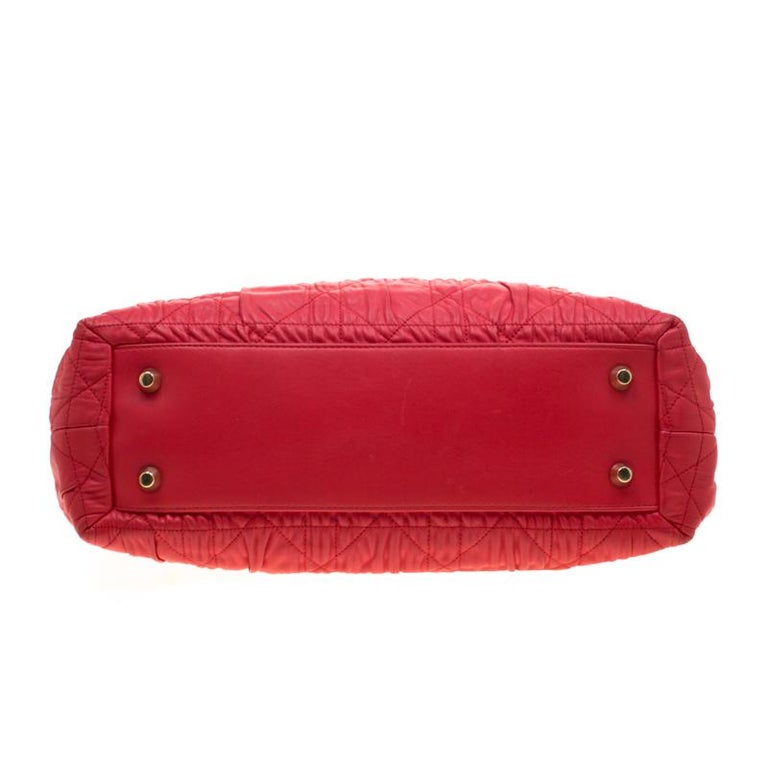 Dior Red Cannage Leather Delices Gaufre Tote For Sale 1