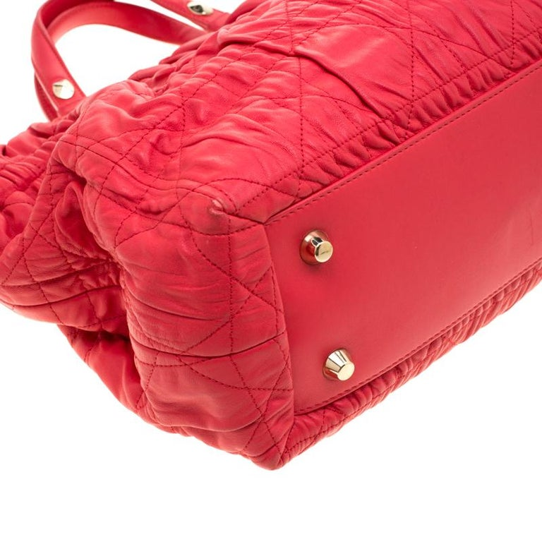 Dior Red Cannage Leather Delices Gaufre Tote For Sale 4