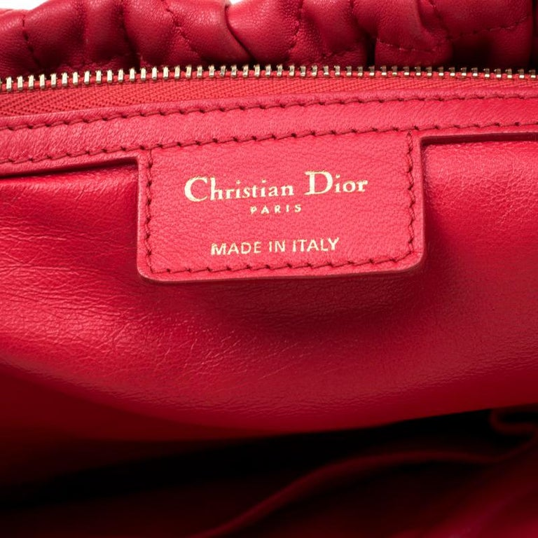 Dior Red Cannage Leather Delices Gaufre Tote For Sale 5