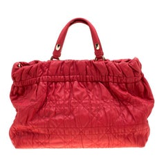 Dior Red Cannage Leather Delices Gaufre Tote