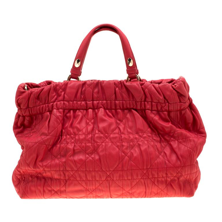 Dior Red Cannage Leather Delices Gaufre Tote For Sale