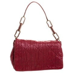 Dior Red Cannage Leather Delidior Flap Shoulder Bag