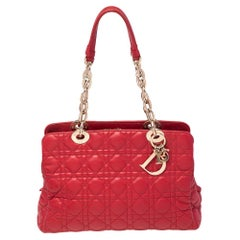Dior Red Cannage Leather Dior Soft Shopping Tote