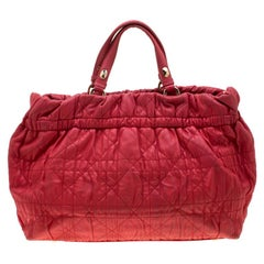 Dior Red Cannage Leather Gaufre Delices Tote