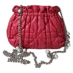 Dior Red Cannage Leather Limited Edition Faux Pearl Chain Bag