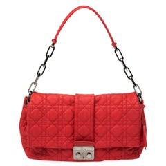 Dior Red Cannage Leather New Lock Flap Bag