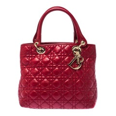 Dior Red Cannage Leather Soft Lady Dior Tote