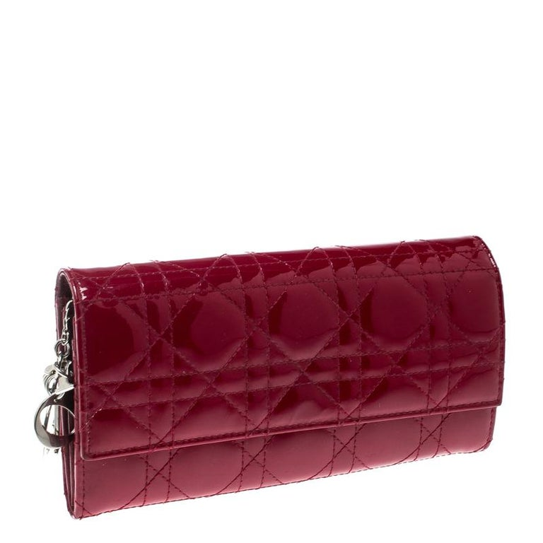 c69411783e Dior Red Cannage Patent Leather Lady Dior Clutch
