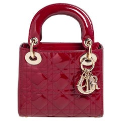 Dior Red Cannage Patent Leather Mini Chain Lady Dior Tote
