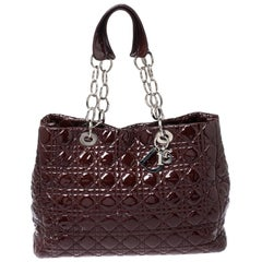 Dior Red Cannage Patent Leather Soft Lady Dior Shopper Tote