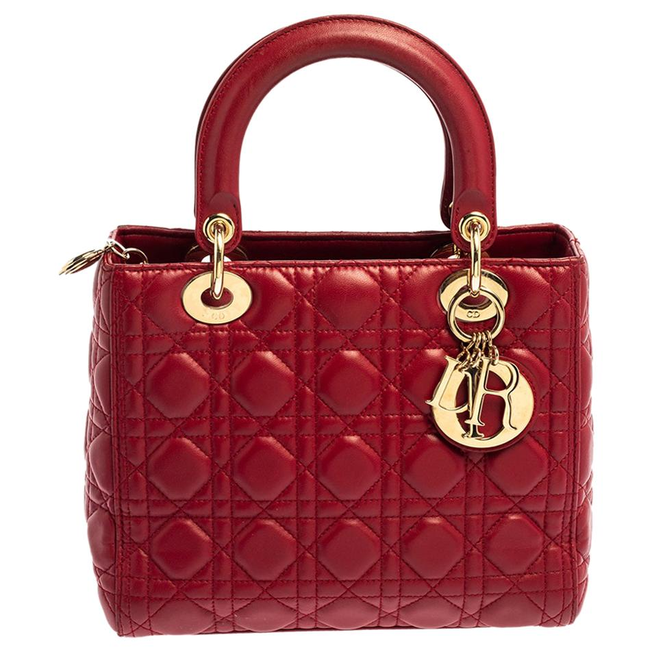 Dior Red Cannage Quilted Leather Medium Lady Dior Tote