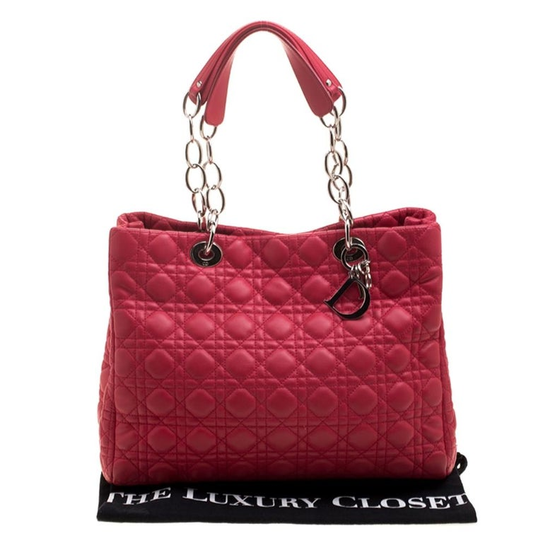 Dior Red Cannage Soft Leather Large Shopping Tote For Sale 8