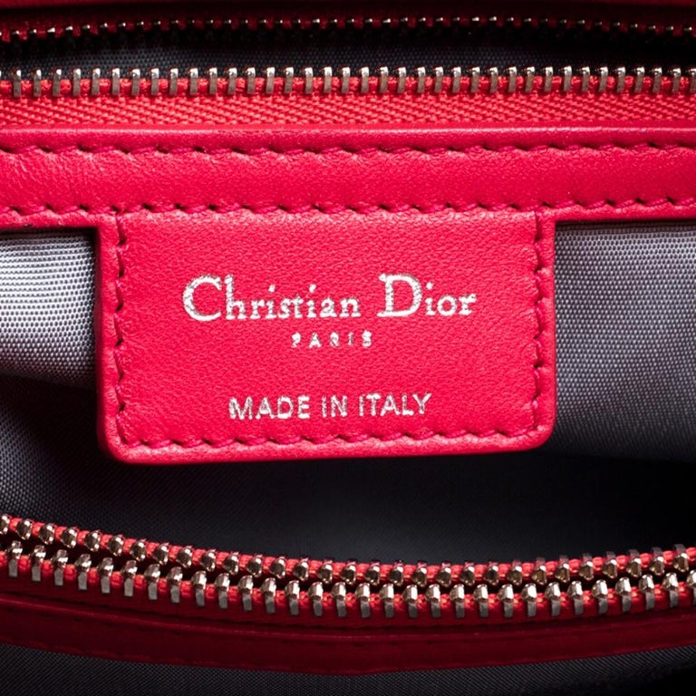 Dior Red Cannage Soft Leather Large Shopping Tote For Sale 5