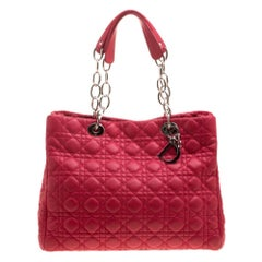 Dior Red Cannage Soft Leather Large Shopping Tote